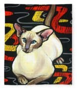 Siamese Cat On A Cushion Fleece Blanket