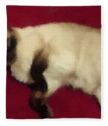 Siamese Expressive Brushstrokes Fleece Blanket