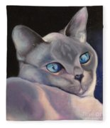 Siamese In Blue Fleece Blanket