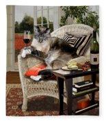 Funny Pet A Wine Bibbing Kitty  Fleece Blanket