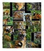 Siberian Tiger Collage Fleece Blanket