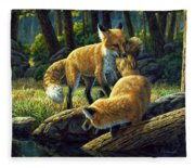 Red Foxes - Sibling Rivalry Fleece Blanket