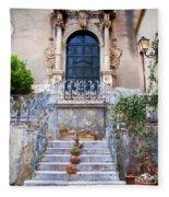 Sicilian Village Steps And Door Fleece Blanket