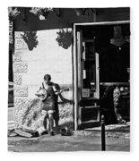Sidewalk Banjo Plucker In French Quarter Fleece Blanket