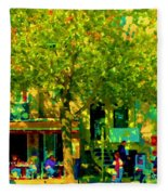 Sidewalk Cafe Rue St Denis Dappled Sunlight Shade Trees Joys Of Montreal City Scene  Carole Spandau Fleece Blanket