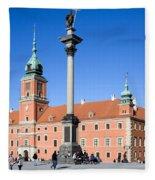 Sigismund's Column And Royal Castle In Warsaw Fleece Blanket