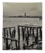 Siglufjordur Old Pier Black And White Fleece Blanket