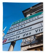 Sign For The Route Des Vins, Arbois Fleece Blanket