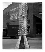 Sign Post In Crossville Tennessee 1939 Fleece Blanket