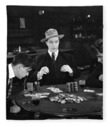 Silent Film Still: Gambling Fleece Blanket