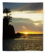 Siletz Bay Sunset Oregon 1 Fleece Blanket