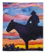 Silhouette Cowboy Fleece Blanket