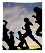 Silhouette Female Runners Fleece Blanket