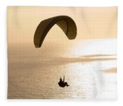 Silhouette Of A Paraglider Flying Fleece Blanket