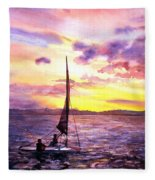 Silhouette Of Boat And Sailors On Torch Lake Michigan Usa Fleece Blanket