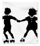 Silhouette Of Children Rollerskating Fleece Blanket