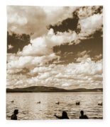 Silhouette Of People Standing In Lake Fleece Blanket