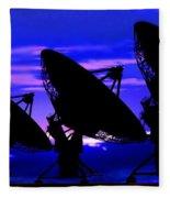 Silhouette Of Satellite Dishes Fleece Blanket
