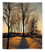 Silhouette Of Trees And Ice Fleece Blanket