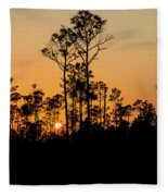 Silhouette Of Trees At Sunset Fleece Blanket