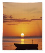 Silhouetted Boat Fleece Blanket