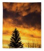 Silhouetted Evergreen Tree Fleece Blanket
