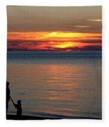 Silhouetted In Sunset At Sturgeon Point Marina Fleece Blanket