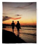 Silhouettes On Varadero Beach Fleece Blanket