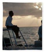 Sillouetted Man Steers Flats Boat Fleece Blanket
