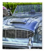 Silver 1963 Austin Healey Roadster 3000 Fleece Blanket