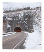 Silver Creek Cliff Tunnel Winter 1 Fleece Blanket