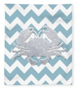 Silver Glitter Crab Silhouette - Chevron Pattern Fleece Blanket