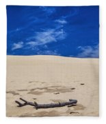 Silver Lake Dune With Dead Tree Branch And Cirrus Clouds Fleece Blanket