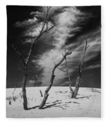 Silver Lake Dune With Dead Trees And Cirrus Clouds In Black And White Fleece Blanket