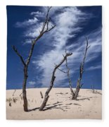 Silver Lake Dune With Dead Trees And Cirrus Clouds Fleece Blanket