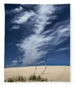 Silver Lake Dune With Grass Dead Trees And Cirrus Clouds Fleece Blanket