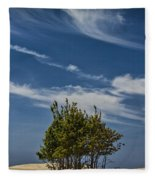 Silver Lake Dune With Tree Grove And Cirrus Clouds Fleece Blanket