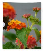 Silver-spotted Skipper Butterfly On Lantana Blossoms Fleece Blanket