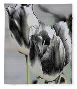 Silver Tulips Fleece Blanket