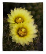 Simply Golden Cactus Flowers  Fleece Blanket