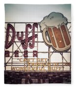 Simpsons Duff Beer Neon Sign Fleece Blanket by Edward Fielding