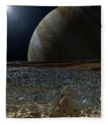 Simulated View From Europas Surface Fleece Blanket