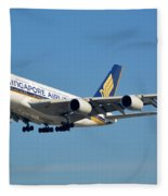 Singapore Airbus A380-841 9v-skn Los Angeles International Airport January 19 2015 Fleece Blanket