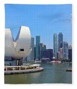 Singapore Artscience Museum And City Skyline Fleece Blanket