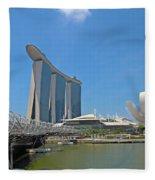 Singapore Artscience Museum Double Helix Bridge And Marina Bay  Fleece Blanket