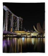 Helix Bridge To Marina Bay Sands Fleece Blanket