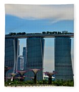 Singapore Skyline With Marina Bay Sands And Gardens By The Bay Supertrees Fleece Blanket