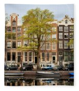 Singel Canal Houses In Amsterdam Fleece Blanket