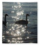 Singing Trumpeter Swans Duet  Fleece Blanket