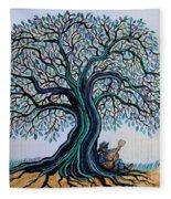 Singing Under The Blues Tree Fleece Blanket